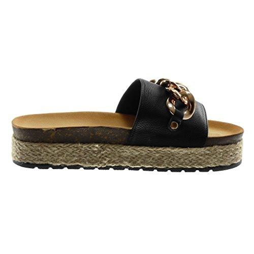 Scarpe 4 cm Piattaforma Tacco Corda Sandali Slip Catena Donna Angkorly nero Moda Zeppe Mules d'oro On Zeppa FdAn6qZ