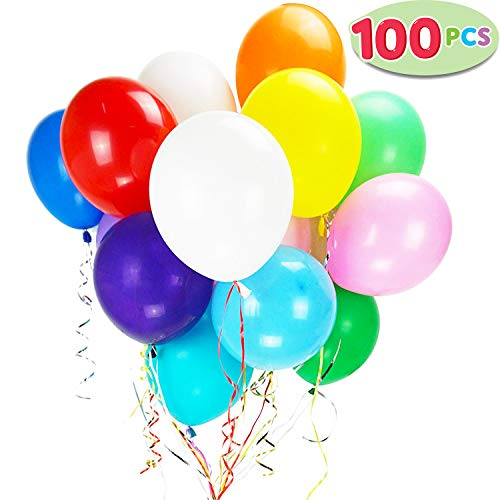 100 Pieces 12 inches Assorted Colors Latex Party Balloons with 10 Bonus Colorful Ribbons, for Birthday Party, Weddings, and any Events