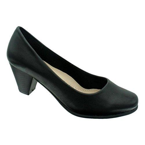 Pierre Dumas Delanie-1 Women's Vegan Leather Rounded-Toe Stacked Mid-Heel Dress Pumps, Black, 8.5 B(M) US