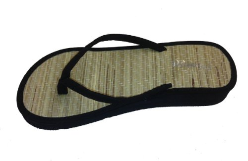 Bamboo Flip Flops Thong Sandals - New Bamboo Sandals Womens Flip Flops Flats Shoe Velvet Thongs Beach Summer Black_6