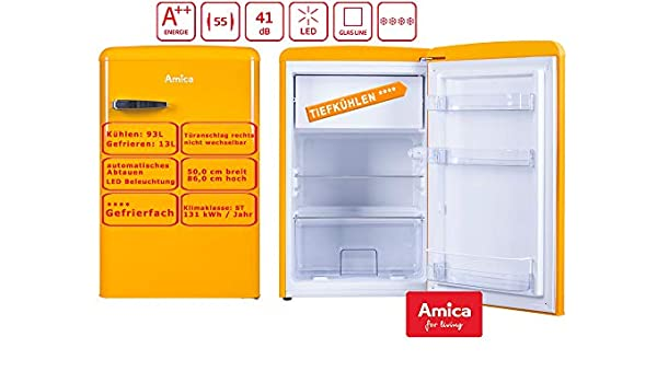 Amica Retro Combi Amarillo KS 15613 y a + + 106 L, con congelador ...