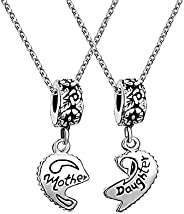 Luluadorn Pairing Heart Mother Daughter Pendant Necklaces for Mom and Child Birthday Gifts