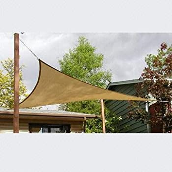 Outsunny 10u0027 Triangle Outdoor Patio Sun Shade Sail Canopy   Sand