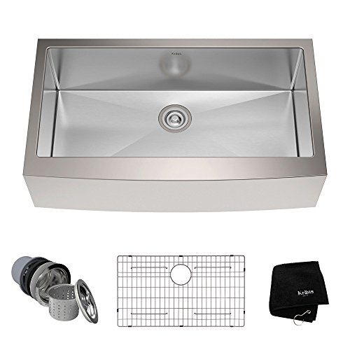 Kraus KHF200-36 36-inch Farmhouse Apron Single Bowl 16-gauge Stainless Steel Kitchen Sink by Kraus