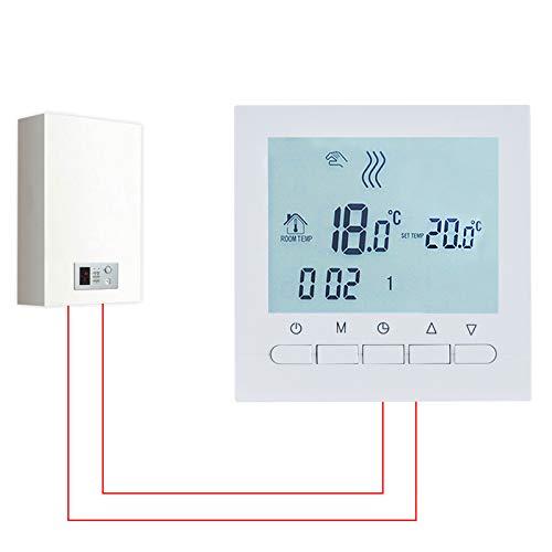 Aliment/é par piles LR6 Contr/ôle de la Chaudi/ère et r/égulation Intelligente de la Temp/érature Beok BOT-313W Thermostat d/'ambiance Programmable Filaire Avec /écran LCD r/étro-/éclairage Blanc