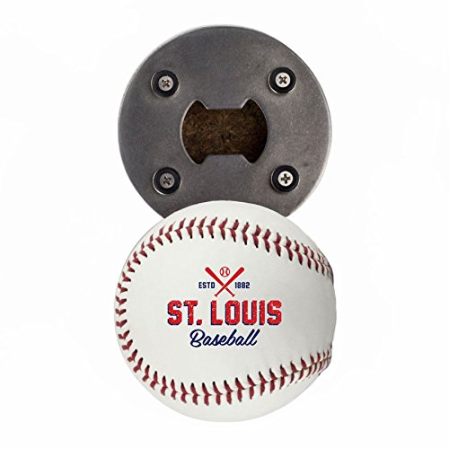- Buffalo BottleCraft St Louis Bottle Opener, Made from a real Baseball, The BaseballOpener, Cap Catcher, Fridge Magnet