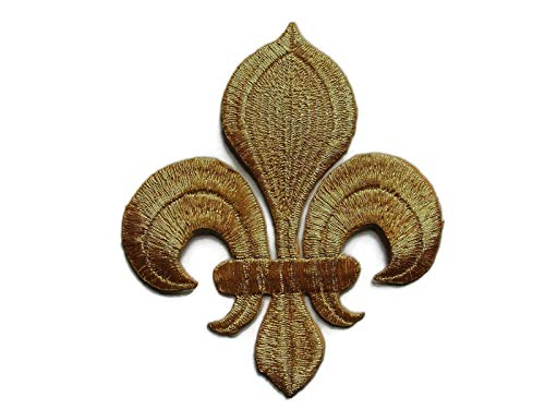 MY HOPE Fleur de Lis Gold Color Applique Embroidered Iron On Patch, Size 4 Inches, 2Pcs ()