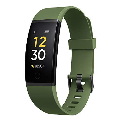 realme Band (Green) – Full Colour Screen with Touchkey, Real-time Heart Rate Monitor, in-Built USB Charging, IP68 Water Resistant