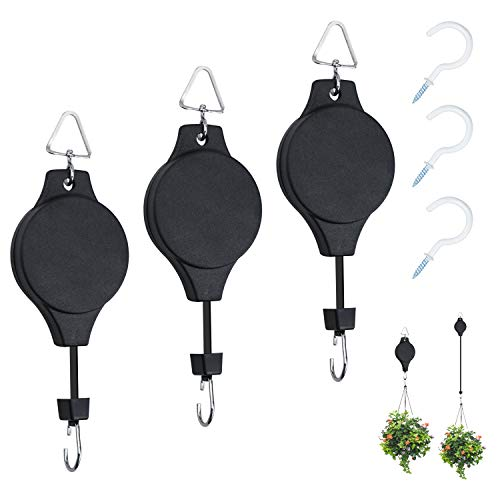 3 Pack Plant Pulley Retractable Hanger, Yotako Adjustable Heavy Duty Plant Flower Baskets Hooks for Hanging Baskets& Bird Feeder with 3 PCS White Ceiling Hooks