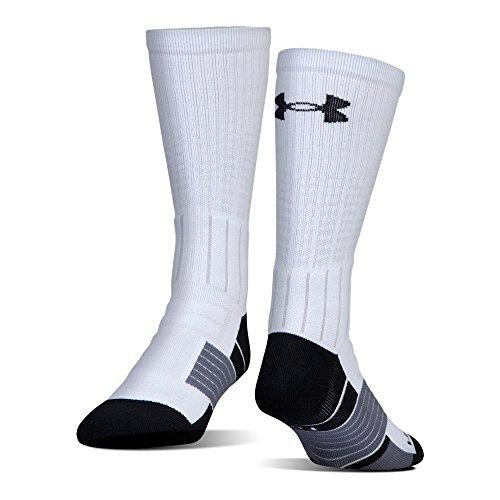 Under Armour Men's Unrivaled Crew Single Pair Socks, White/Black, Medium