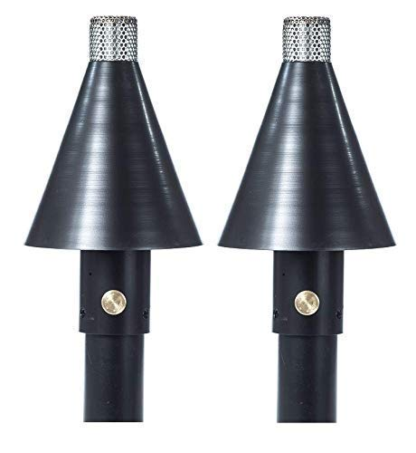 "Big Kahuna Gas Tiki Style Torch - Exotic Propane or Natural Gas Lamp Includes a 82"" Black Steel Pole for Easy Set Up - Permanent Outdoor Lights are Great for Landscape Lighting, Set of 2 (Black Cone)"