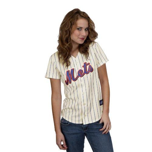 (MLB Women's New York Mets Jose Reyes Ivory/Royal Alternate Short Sleeve 5 Button Synthetic Replica Baseball Jersey Spring 2012  (Ivory/Royal, XX-Large))