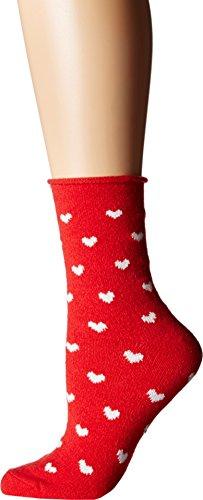 Plush Women's Heart Rolled Fleece Socks, Red, One Size ()