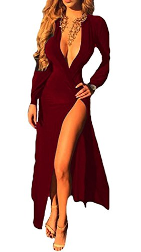 Wool Satin Sheath Dress (IF FEEL Sexy Women Deep V Neck Party Maxi Cotton Long Sleeve High Slit Dress (S/(US 2-4),)