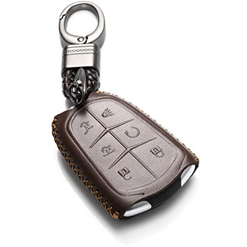Vitodeco Genuine Leather Smart Key Keyless Remote Entry Fob Case Cover with Key Chain for 2015-2019 Cadillac Escalade, Escalade ESV (6 Buttons, Brown)