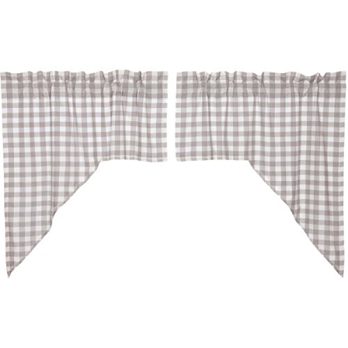 VHC Brands Farmhouse Kitchen Window Curtains-Annie Buffalo Check White Lined Swag Pair, Grey