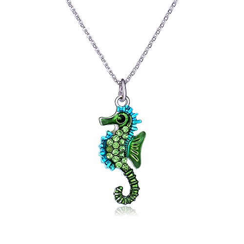 Vinjewelry Green Seahorse Pendant Necklace for A Hippocampus Lover Delicate ()