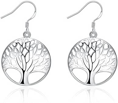 Naivo Sterling Silver Plated Tree of Life Drop Dangle Earrings for Women