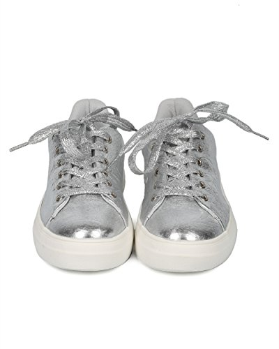 Toe Creeper Trendy Everyday Women Alrisco Sneaker Qupid Silver Platform Casual HC92 Round Sneaker Sneaker by Versatile Metallic Lace Up Flatform Collection 0q17Yvq