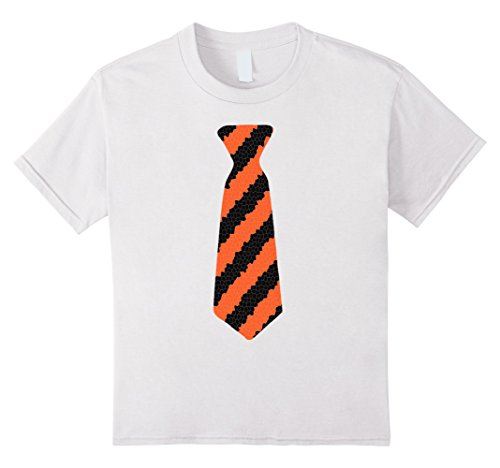 Kids Black and Orange Bengal Tiger Costume Halloween Tie Shirt 12 White