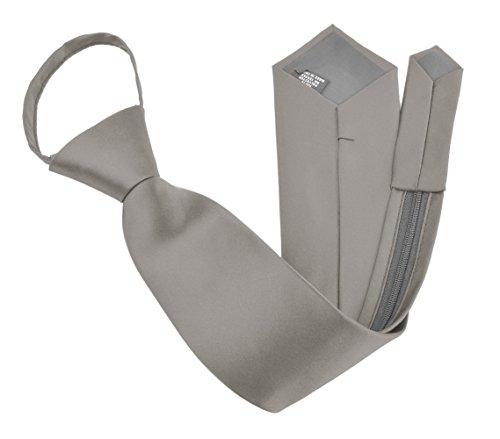 Moda Di Raza - Men's/Boy's Zipper Tie Neckwear Polyester -Silver/17 IN