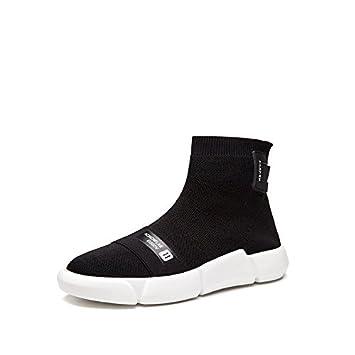 Calzado deportivo estudiantil estiramiento elástico alto calcetines zapatos botas de Lona tejida joker coreana, negro, 35: Amazon.es: Deportes y aire libre