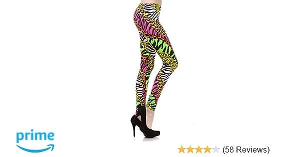 eaacbfa135a938 Amazon.com: NeonNation Multi Color Animal Print Bright Leggings 1980s Pants  Zebra Cheetah Costume: Clothing