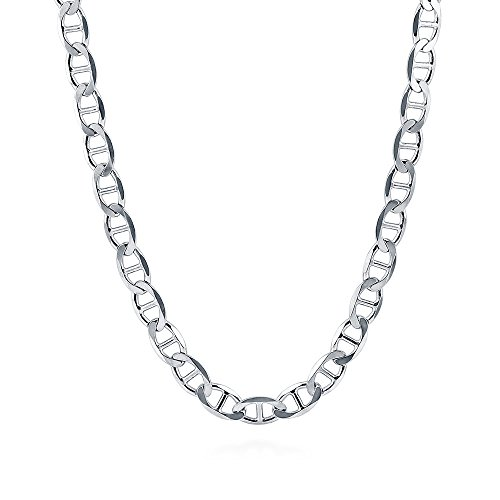 (BERRICLE Italian Rhodium Plated Sterling Silver Flat Marina Chain Necklace 6.5mm 22