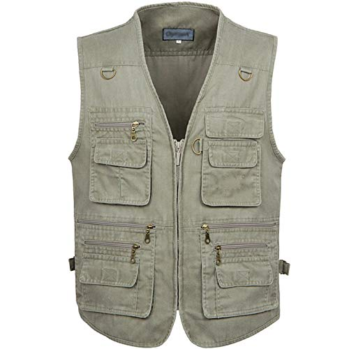 Flygo Men s Casual Multi Pockets Outdoor Work Utility Fishing Photo Journalist Vest