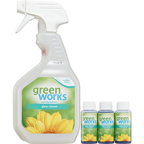 Green Works Glass Cleaner Concentrate, pack includes Spray Trigger bottle and 3 - 1oz concentrate bottles Clorox Glass