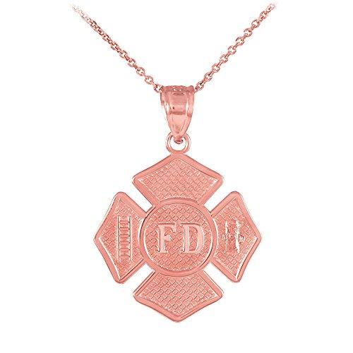Collier Femme Pendentif 10 Ct Or Rose St Florian Médaille Pompier Badge (Livré avec une 45cm Chaîne)