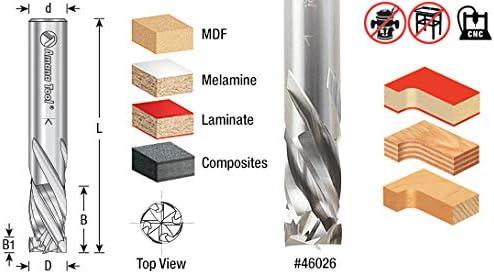 46028 CNC Solid Carbide Mortise Compression Spiral 4 Flute 1//2 Dia x 1-3//8 x Amana Tool