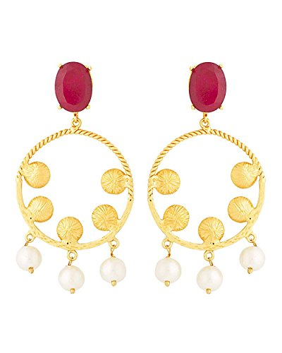 Voylla Women's Pink Stone Studded Golden Earrings With Pearl Dangling by Voylla
