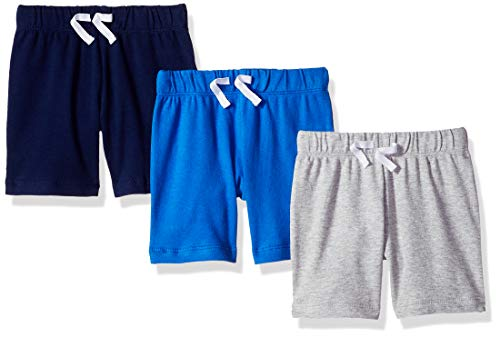 - Amazon Essentials Baby Boys 3-Pack Pull-On Short, Blue/Grey Solid, 24M