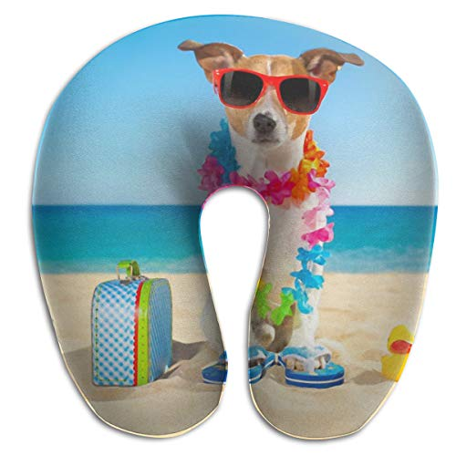 NiYoung Compact Neck Pillow Beach Funny Jack Russell Dog Large Travel Pillow Neck-Supportive Sleeping Rest Cushion, Breathable & Comfortable, Bus Restful Sleep Car Neck Pillow ()