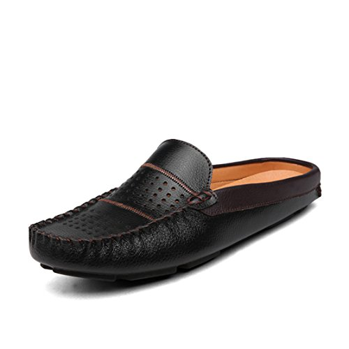 Go Tour Mens Comfortable Soft Scuff Leather Slippers Slip-on Loafters Shoes Black bXsPU