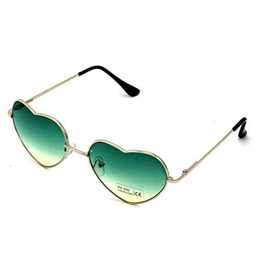 montura de para corazón marrón W sol diseño de con Gafas y top verde mujer metálica qTEZA0