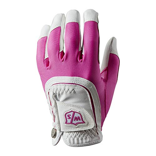 Pink Golf Glove - Wilson Staff Fit All Golf Glove, Pink/White