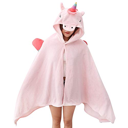 - KINOMOTO Unicorn Blanket for Girls- Flannel Cape Hoodies Throw Blankets Wrap with Hood - Super Soft Comfy Large Comforter 75