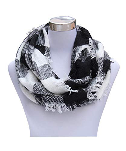 Lucky Leaf Women Winter Checked Pattern Cashmere Feel Warm Plaid Infinity Scarf (Black Plaid)