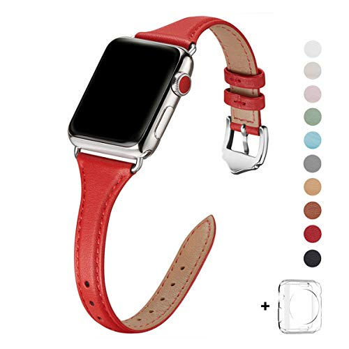 WFEAGL Leather Bands Compatible with Apple Watch 38mm 40mm 42mm 44mm, Top Grain Leather Band Slim & Thin Replacement Wristband for iWatch Series 5 & Series 4/3/2/1(Red Band+Silver Adapter, 38mm 40mm) (Leather Watch Band Red)