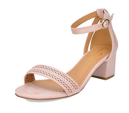 (DREAM PAIRS Women's Mona_05 Pink Fashion Block Heel Sandals Size 8.5 B(M))