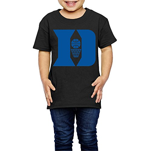 AK79 Kids 2-6 Years Old Boys And Girls Duke Blue D Logo T Shirt Black Size 4 Toddler (Elf On The Shelf On The Toilet)