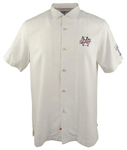 (Tommy Bahama MLB Rangers Swing Big Silk Camp Short Sleeve Shirt-R-M)