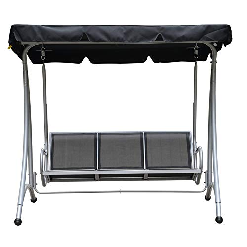 Outsunny 3 Person Steel Outdoor Patio Porch Swing Chair with Adjustable Canopy – Black