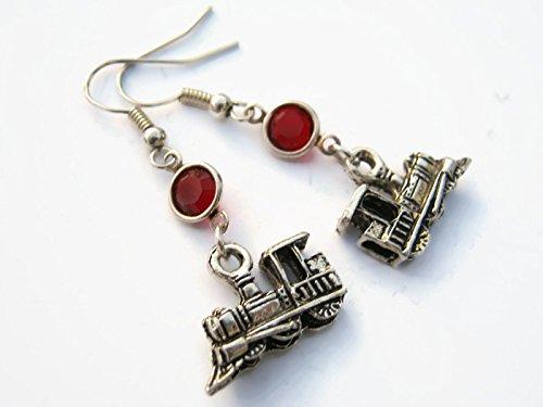 Train Birthstone Earrings, Personalized Railroad Earrings, Freight Train Jewelry, Conductor Gift