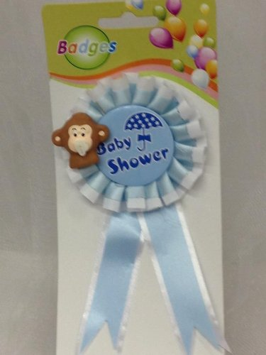 Baby Shower Monkey Mom to Be Badge Blue Boy Favor Corsage Decoration Party