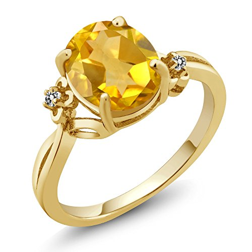 2.03 Ct Oval Yellow Citrine White Diamond 14K Yellow Gold Ring (Ring Size 9)