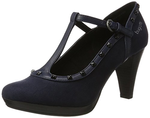 Bugatti Damen 412281736400 T-Spangen Pumps Blau (Dark Blue)