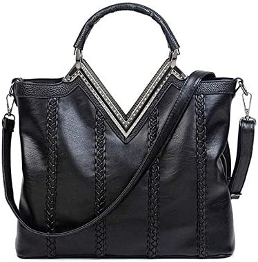 OUYAWEI Women Fashion Luxury Tote Handbag Messenger PU Leather Woven Shoulder Bag Satchel